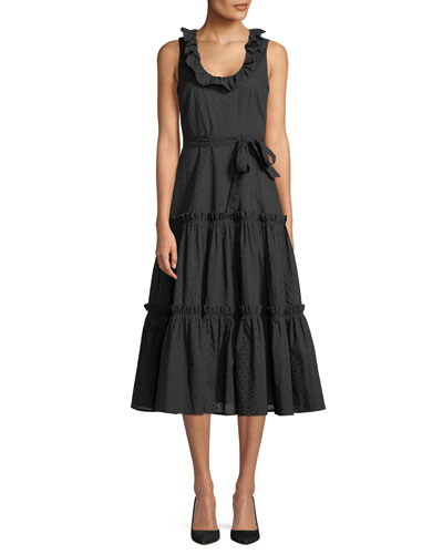 Sleeveless Ruffled Scoop-Neck Pointelle Cotton Voile Dress
