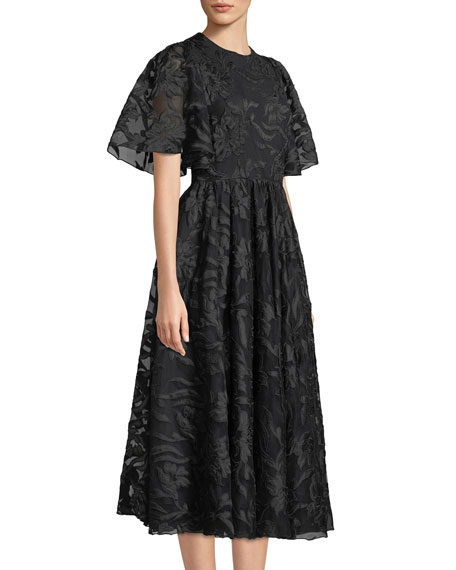 Flared-Sleeve Floral-Applique Fit-and-Flare Cocktail Dress