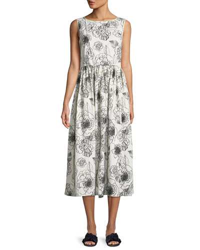 Sleeveless Floral-Print A-Line Cotton Dress