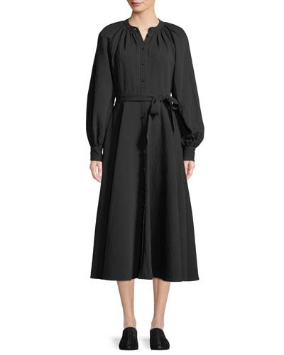 Long-Sleeve Button-Down Belted A-Line Cotton-Linen Dress