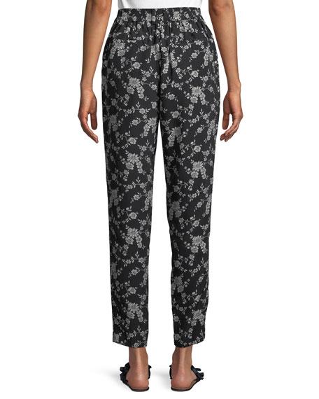 Stovepipe Floral-Print Straight-Leg Gabardine Pants