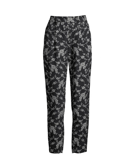 Image 2 of 3: Co Stovepipe Floral-Print Straight-Leg Gabardine Pants