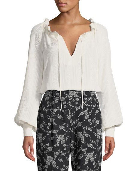 Cinched-Neck Long-Sleeve Jacquard Cloque Blouse