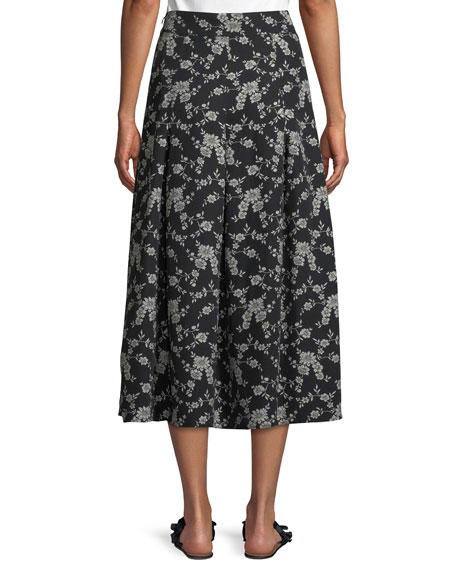 Floral-Print Gabardine Box-Pleat Midi Skirt
