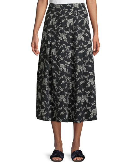 Co Floral-Print Gabardine Box-Pleat Midi Skirt