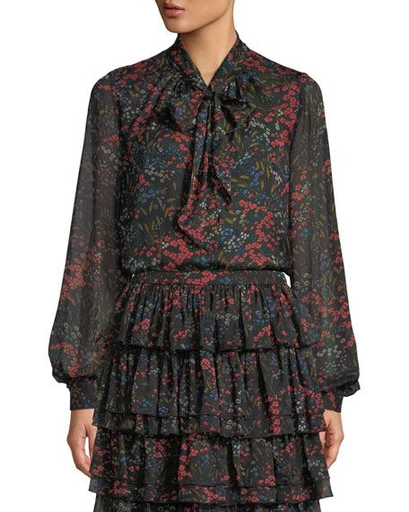 Long-Sleeve Tie-Neck Floral-Print Silk Chiffon Blouse