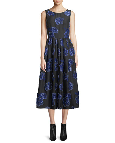 Sleeveless Belted Floral-Embroidered Poplin Dress