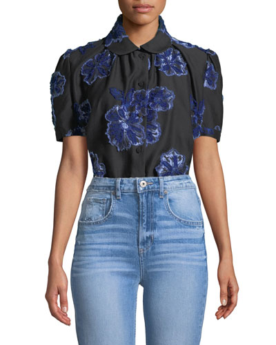 Button-Down Floral-Embroidered Poplin Shirt