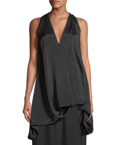 V-Neck Sleeveless Satin Parachute Top