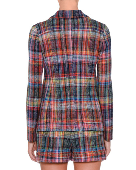 One-Button Rainbow Check Jacket