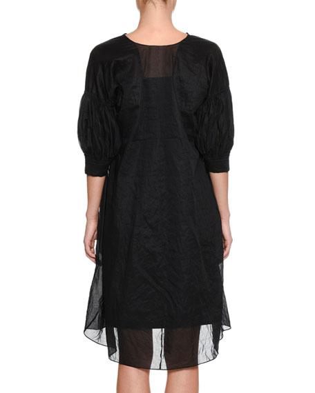 Eulogy V-Neck Elbow-Sleeve Tunic Cotton Boucle Dress