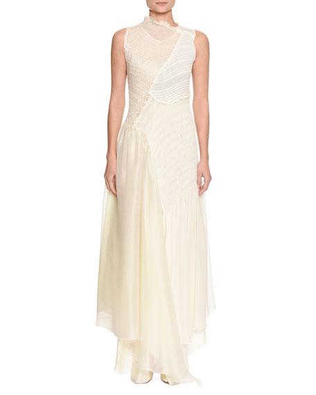 Effervescent Sleeveless Mixed-Media Collage Dress with Asymmetric Hem