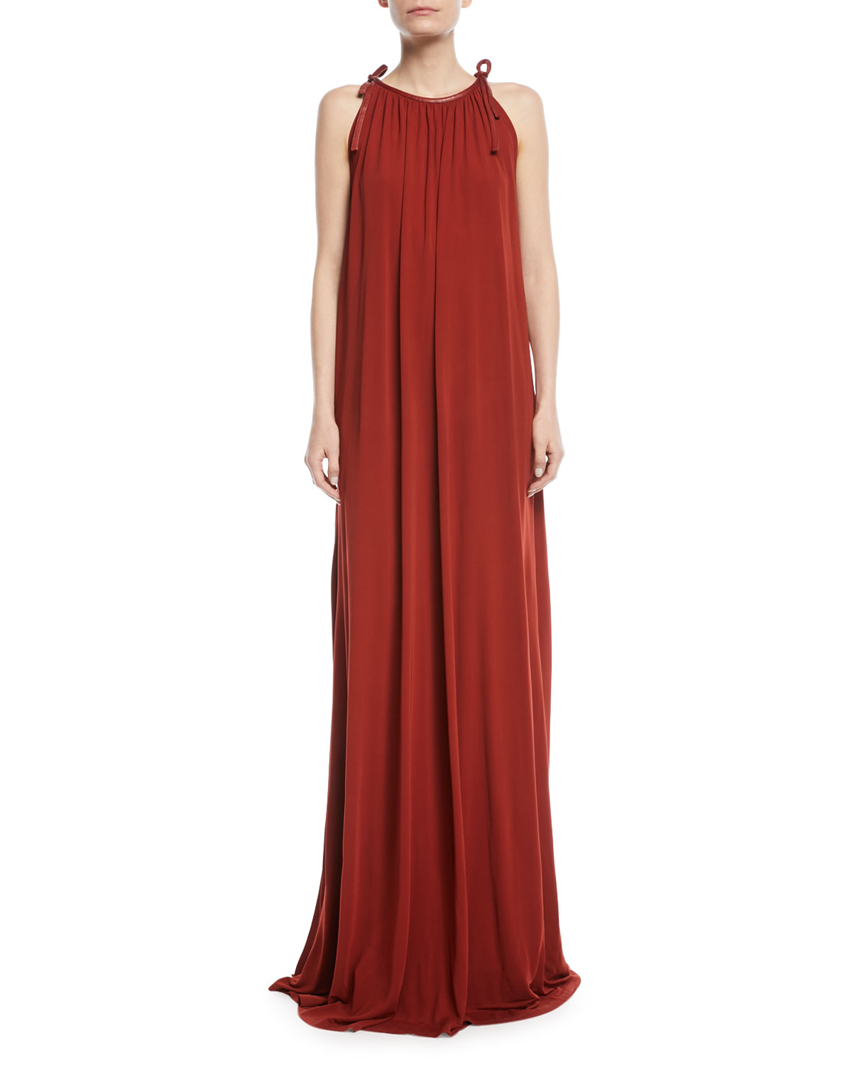 d26549ff757 Rosetta Getty Halter Tie-Neck Crepe Jersey Maxi Dress w  Leather Trim