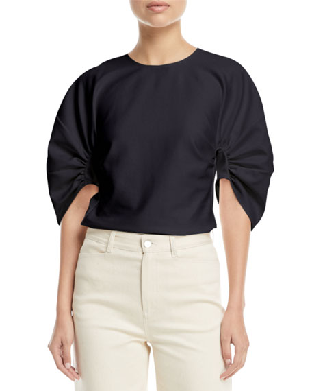 Gather-Sleeve Stretch Ottoman Top