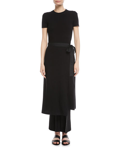 Crewneck Short-Sleeve Rib-Jersey Apron Dress in Black