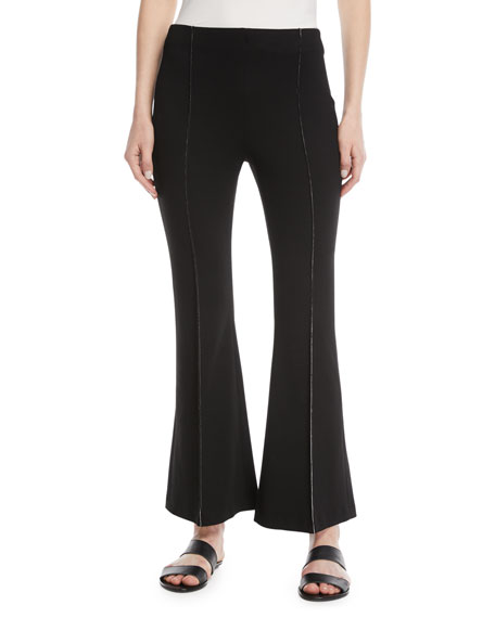 Flat-Front Flared-Leg Cropped Pants w/ Contrast Topstitching