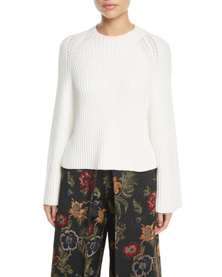 Rosetta Getty Crewneck Long-Sleeve Chunky Cropped-Back Pullover Sweater