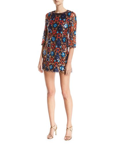 Star-Sequin Embroidered Elbow-Sleeve Shift Cocktail Dress