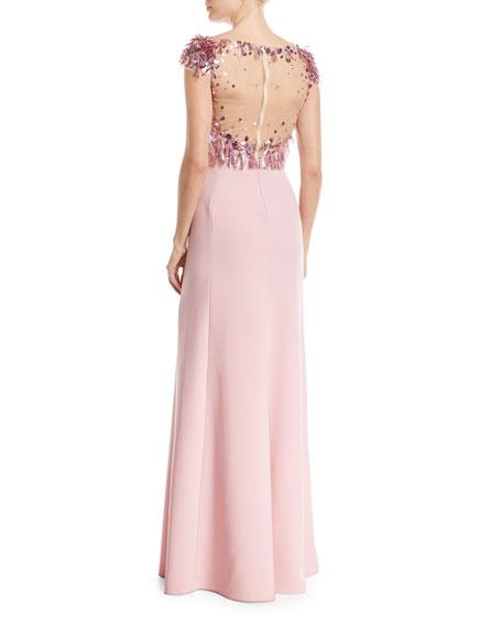 Illusion-Neckline Short-Sleeve Paillette Top Crepe Evening Gown