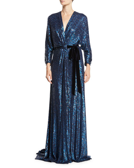 V-Neck Long-Sleeve Tie-Front Allover Sequin Evening Gown