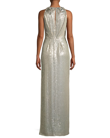 Sleeveless Sequined Gathered-Waist Evening Gown