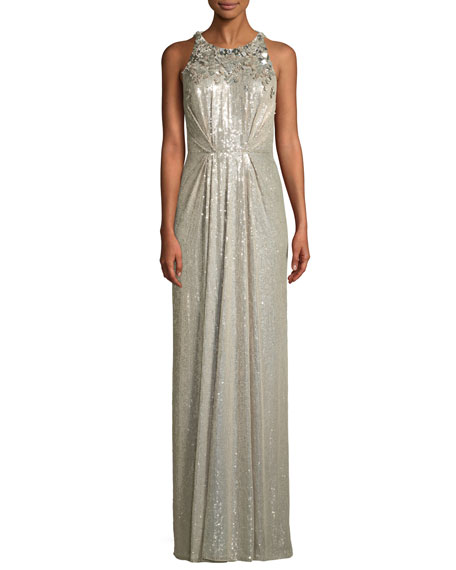 Jenny Packham Sleeveless Sequined Gathered Waist Evening Gown