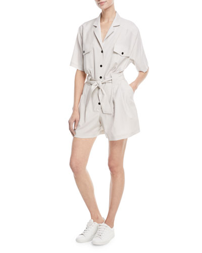 Helene Button-Down Cargo-Pocket Short Jumpsuit