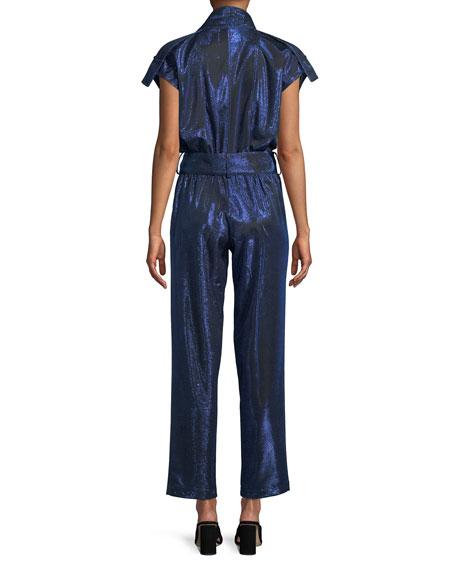 Paola Cap-Sleeve Belted Metallic Jumpsuit