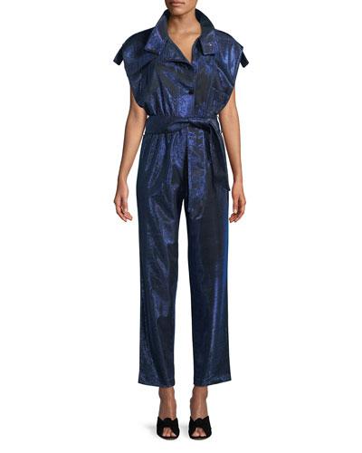 Paola Cap-Sleeve Belted Lamé Jumpsuit