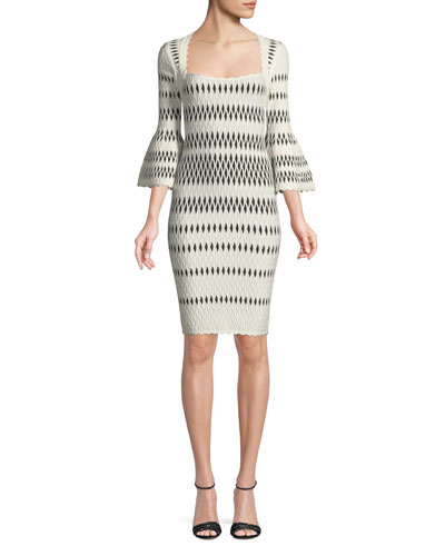 Bell-Sleeve Wavy Jacquard Body-con Cocktail Dress