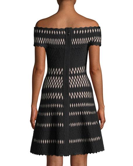 Off-the-Shoulder Wavy Jacquard Cocktail Dress