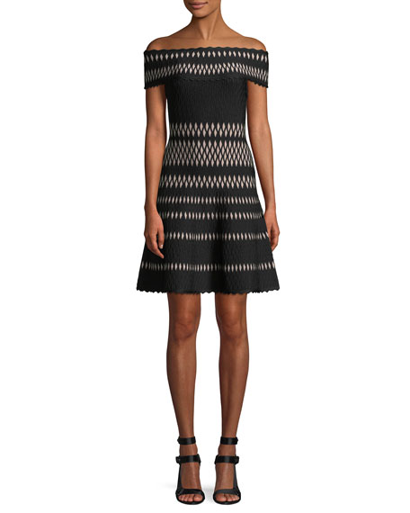 Off-the-Shoulder Wavy Jacquard Cocktail Dress