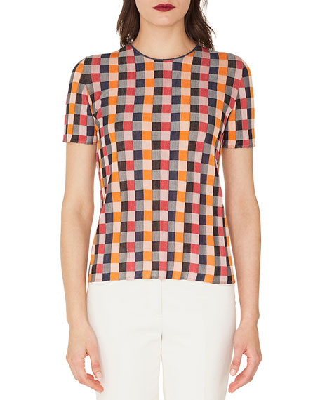 Round-Neck Short-Sleeve Check Silk Knit Pullover