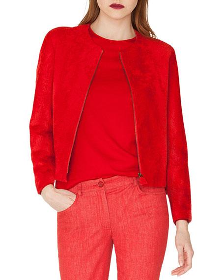 Sunella Zip-Front Bracelet-Sleeve Lamb Shearling Fur Jacket