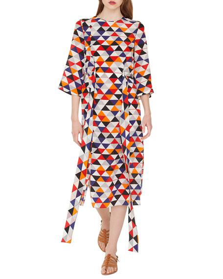 Elbow-Sleeve Diamond-Print Silk Crepe Midi Dress with Tie-Waist Detail