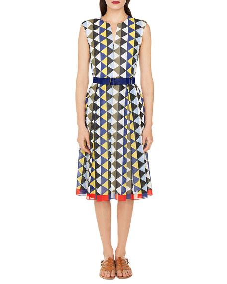 Sleeveless Diamond-Stripe Cotton-Voile A-Line Midi Dress