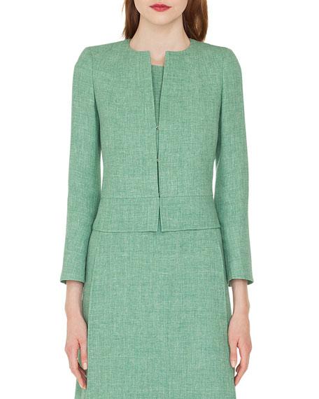 Sally Hook-Closure Short Linen Jacket in Jade