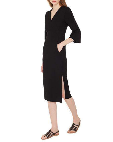 V-Neck Bell-Sleeve Double-Face Wool Dress w/ Side Slit