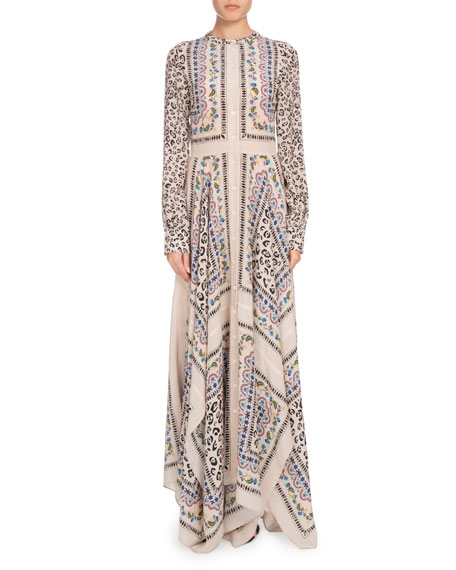 Altuzarra Long-Sleeve Button-Front Printed Crepe de Chine Maxi