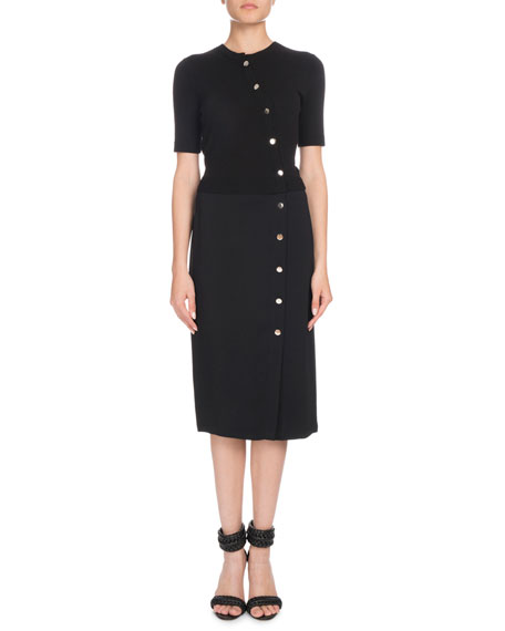 Short-Sleeve Button-Front Cady-Knit Top Fitted Midi Dress in Black