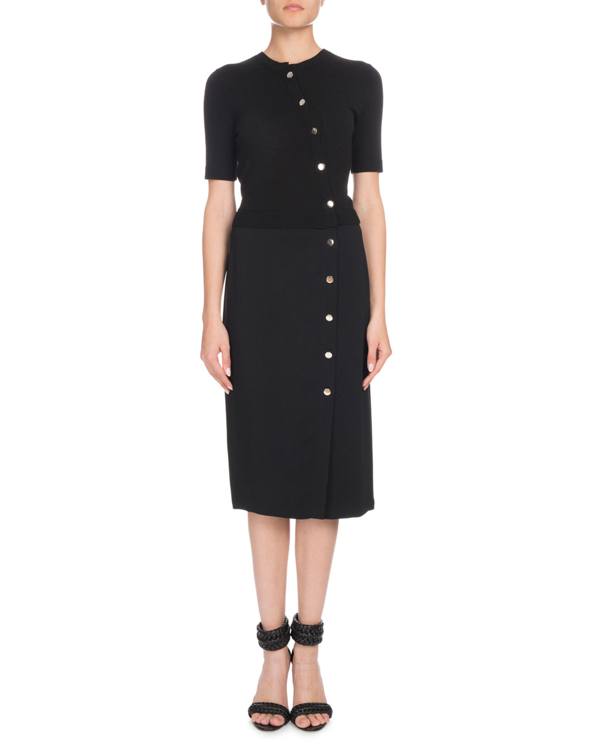 Altuzarra Short-Sleeve Button-Front Cady-Knit Top Fitted ...