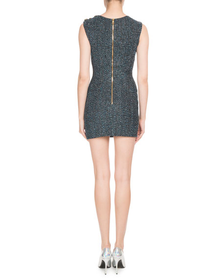 Sleeveless Draped Metallic Body-Con Cocktail Dress w/ Shoulder Button