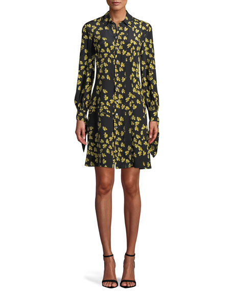 Tie-Cuffs Button-Front Floral-Print Silk Shirtdress w/ Pleating