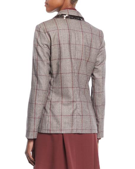 One-Button Plaid Blazer w/ Paillette Under-Collar
