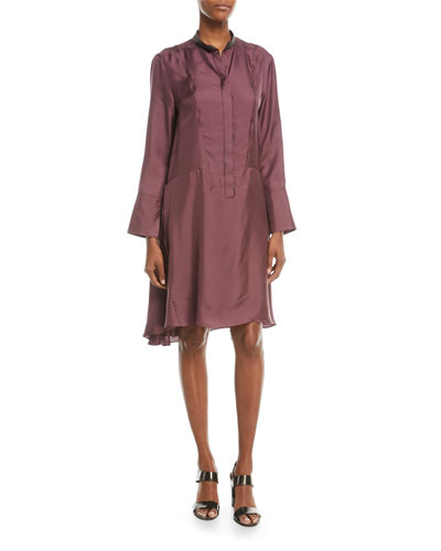Long-Sleeve Silk A-Line Dress w/ Monili Mandarin Collar