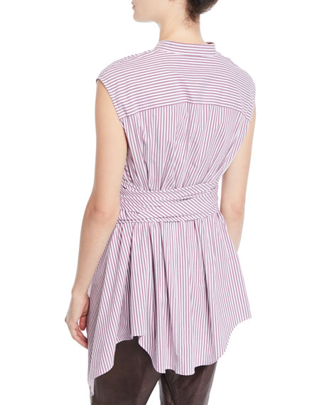 Cap-Sleeve Button-Down Striped Cotton Poplin Blouse with Wrap Belt