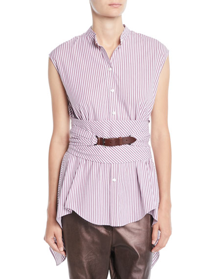 Brunello Cucinelli Cap-Sleeve Button-Down Striped Cotton Poplin