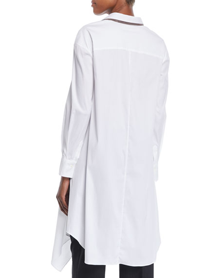 Button-Down Long-Sleeve Long Poplin Tunic w/ Doubled-Collar