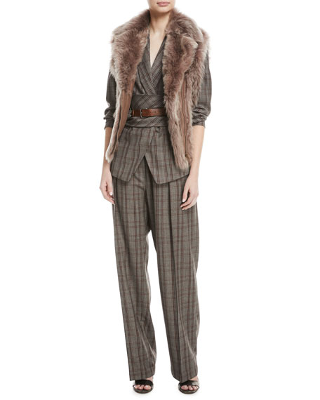 Elasticized-Waist Plaid Wool Pull-On Pants w/ Monili Belt Loop