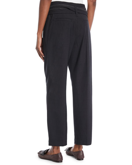 Paperbag-Waist Lightweight-Wool Straight-Leg Pants w/ Wrap Self Belt